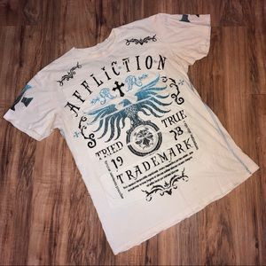 😎Affliction Trademark White Double-Sided T-Shirt
